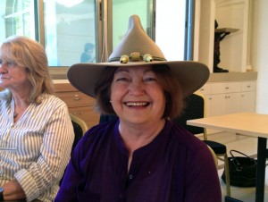 Mairead Maguire wearing my hat! :-)