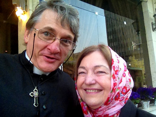 Father Dave and Mairead Maguire in Tehran, April 2014