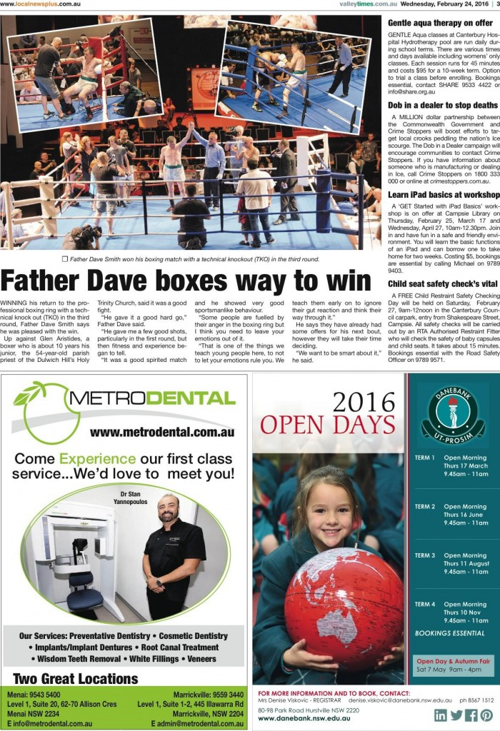 Father Dave wins by 3rd round TKO